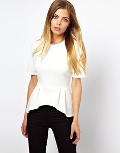 $42.19 Top by ASOS Collection Made from an easy-care poly blend fabric. Round neckline. Pleated, peplum hem with a dipped back. Concealed zip fastening to the reverse. Regular fit.