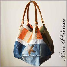 Sac cabas réversible en patchwork jean by Muse de Provence.