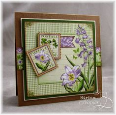 April 2015 G45 Time to Flourish - March Card with Violet Stamp by Miriam Napier; Miriam's Delirium