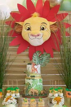 Take a look at this adorable Lion King Birthday party! The party food looks amazing! See more party ideas and share yours at CatchMyParty.com #catchmyparty #partyideas #lionking #lionkingparty #safariparty #boybirthdayparty Jungle Party, Safari Party, Jungle Safari, Lion King Party, Lion King Birthday, Dessert Table Backdrop, Dessert Tables, Bridal Shower Cakes, Baby Shower Cakes