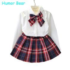 ce9b51e36 R$ 28.64 34% de desconto|Aliexpress.com: Compre Humor Urso Outono Crianças  Bebê Roupas de Menina de Manga Comprida T shirt + Grade Saia + bowknot  Casual 3 ...