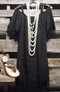 Cruise Ship Dancing Vintage Black Fringe Dress