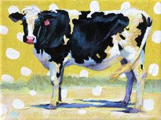 Black & White Cow Painting, Holstein Dairy Cow Art - Yellow Summer Fun - Archival Art Print 5 x 7 Jemmas Gems.