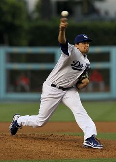 Dodger pitcher Nathan Eovaldii gives up one run in the 2-1 loss to the Angels on June 13, 2012.