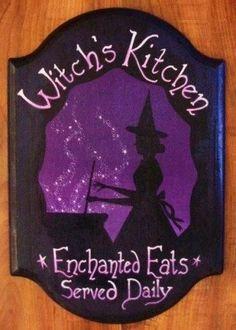 Witches Kitchen Witch Sign Handpainted Plaque Witchcraft Folk Art Halloween…