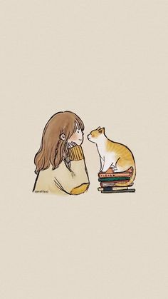 Shared by Lucian. Find images and videos about girl, text and cat on We Heart It - the app to get lost in what you love. Cat Wallpaper, Kawaii Wallpaper, Cute Wallpaper Backgrounds, Wallpaper Iphone Cute, Cartoon Kunst, Cartoon Art, Photographie Portrait Inspiration, Dibujos Cute, Cute Cartoon Wallpapers