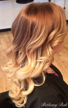 ombre strawberry blonde to natural/ golden blonde
