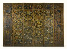 A North German polychrome decorated leather six-fold screen, mid-18th century painted with chinoiserie decoration of flowers and figures in lozenge shaped reserves, on a black ground,