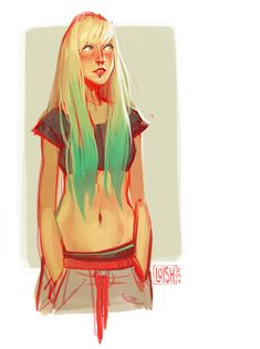 artblog of lois van baarle | just a quick after-work drawing of a cool neon haired lady.