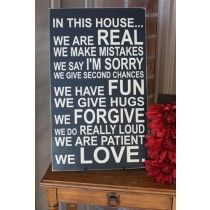 House Rules Sign--wording on pallet
