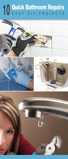 10 Quick Bathroom Repairs for the DIYer! Learn how to replace broken tile replace a shower head fix a running toilet and much more with these great tutorials! 10 Quick Bathroom Re Bathroom Repair, Diy Bathroom Decor, Simple Bathroom, Bathroom Ideas, Bath Ideas, Shower Repair, Home Renovation, Diy Home Repair, Partys
