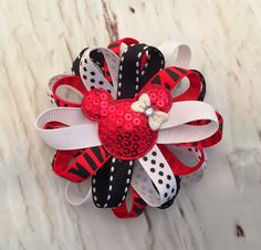Red Minnie Mouse Hairbow, Red & Black Ribbon Hairbow, Birthday Hair Bow, Disney Hairbow, Mickey Mouse, Hair Accessories by SewCuteBoutiqueBow on Etsy
