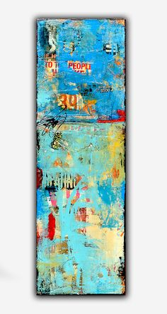 Mixed media Abstract Painting on wood 12x36