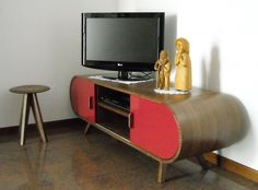 Fonteyn Media Unit in walnut and red is a stylish piece for any design-led living room.