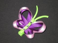 """NEW """"PURPLE BUTTERFLY"""" Girls Ribbon Hairbow Clip Bow Boutique Summer Sculpture. $4.99, via Etsy."""