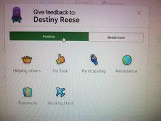 Destiny earning points on ClassDojo!