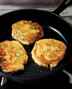Okra Cornmeal Cakes — layer with goat cheese or ricotta and a thickly sliced tomato; for nibbles, side dish, or main event!