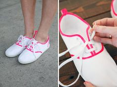 Neon Piping | 33 DIY Shoe Hacks