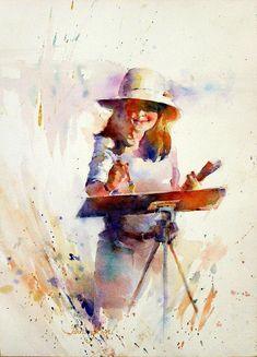 "Contemporary Painting - ""Fealing"" (Original Art from Fealing Lin Watercolors)"