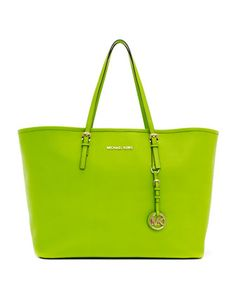 Jet Set Saffiano Travel Tote - Neiman Marcus Love the lime green!