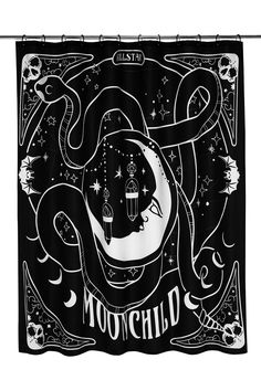 Moon Child Shower Curtain by Killstar Black Shower Curtains, Black Curtains, Plywood Furniture, Eames, Curtain Shop, Goth Home Decor, Gothic Bathroom Decor, Shower Tile Designs, Inked Shop