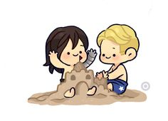 The Girl In The Byakko... Imagine they got turned into toddlers and you took them to the beach and helped build their castle awww