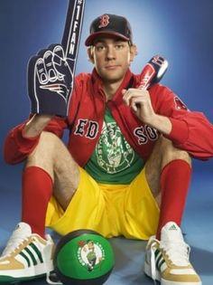 John Krasinski (Jim Halpert on NBC's The Office) is a huge New England sports fan Boston Sports, Boston Red Sox, Boston Logo, Sports Head, Red Sox Nation, Patriots Fans, John Krasinski, Boston Strong, Home Team