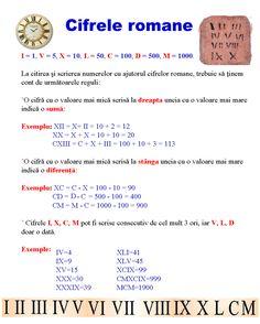 Cifrele romane Algebra, Romanian Language, Homework Sheet, Math For Kids, Diy For Kids, Teacher Supplies, Homeschool Math, School Lessons, Educational Games