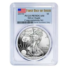 2007 W BURNISHED SILVER $1 EAGLE NGC MS-70 EARLY RELEASE BLUE LABEL TOP GRADE