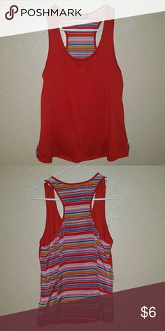 Tank Top Size - medium Color - orange with multi-colored stripes on the back Perfect for summer! Make me an offer! Tops Tank Tops