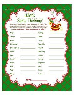 Christmas Game What's Santa Thinking Christmas Word | Etsy