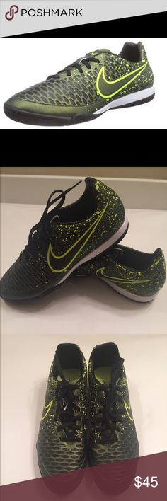 Nike Men's Magista Onda Shoe Dark Citron/Black •Synthetic •Rubber sole •All over texture amplifies ball touch •Contoured, die cut EVA foam sockliner for additional cushioning and comfort •Indoor competition (IC) outsole made with non-marking materials and features designed to help enhance movement and traction Nike Shoes Athletic Shoes