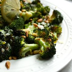 Lemon-Parmesan Roasted Broccoli (Healthy Side Dish)  Was easy to make and tasted good.  Next time i will cut the lemon to half lemon zest & juice. -- Ingredients:  Broccoli, Lemon, Pine Nuts, Parmesan, Fresh Basil.