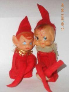 2 VINTAGE RED CHRISTMAS PIXIE ELF ELVES KNEE HUGGER SHELF SITTER
