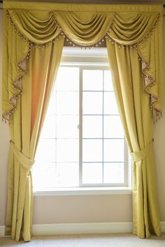 Picture of Yellow Greek Key - Classic Overlapping Style Valance Curtains