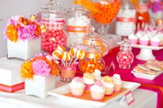 Hot Pink and Orange Dessert Table