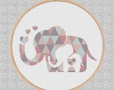 Éléphant géométrique Point de croix modèle bébé moderne