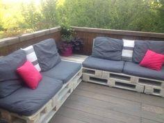#PalletSofa, #PalletTerrace, #RecycledPallet My terrace sofa corner made out of repurposed wooden pallets.   Mon canapé de terrasse réalisé en palette recyclées!