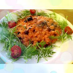 ほうれん草、きのこ、ウィンナーのチーズたっぷりクリーミーリゾットの出来上がり♡ - 4件のもぐもぐ - トマトクリームリゾット♡ by mikmik