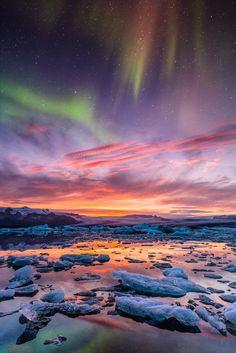 Aurora over Jokulsarlon by BSGuyIncognito,,, Aurora at sundown at Jokulsarlon, Iceland