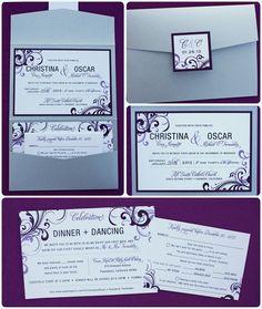 Eggplant & Lavender Purple Swirls Modern Vertical Pocketfold Landscape Wedding Invitations