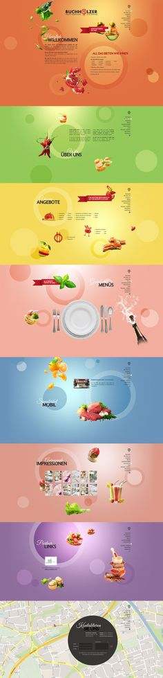 Vibrant and colorful Parallax Scrolling one pager for a catering business.