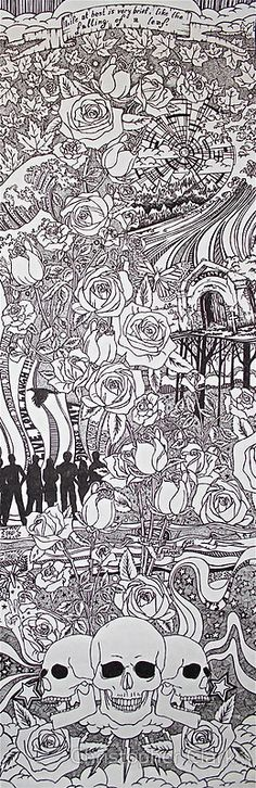 """""""Life at Best.""""  Pen and Ink 12"""" x 36"""""""