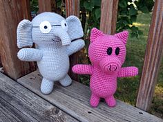 "Elephant and Piggie Amigurumi - Inspired by Mo Willems series for young readers - Free English Pattern -PDF Format , click ""download"""