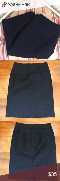 """NWOT!!! J. Crew Navy Blue Skirt Navy Blue stitched Skirt with a linear design in the stitching. Small front pocket fully lined hidden back zipper. Measures 22.5"""" medium weight Skirt can wear with nylons or tights with heels or boots, or on warmer days with flats wedges or open toe heels versatile Skirt!! J. Crew Skirts"""