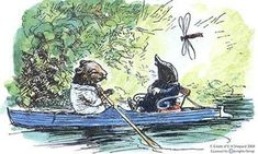 Shelly's all time favorite 'Simply messing about in boats'  ... EH Shepard's illustration of Ratty and Mole. First edition of Wind in the Willows