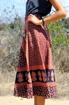 1970s Indian Block Print Wrap Maxi Skirt