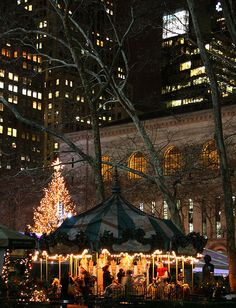 Bryant Park at Night, New York New York Noel, New York City Christmas, Brooklyn, Times Square, New York Winter, Carrousel, Empire State Of Mind, I Love Nyc, Bryant Park