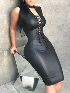 PU Deep V Lace-Up Front Slinky Bodycon Dress (S/M/L/XL) $30.99