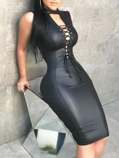 54bc44174a Solid Black PU Leather Dress Top Quality Sexy Eyelet Lace-up Deep V Party  Nightclub Dress Women Sleeveless Slim Bodycon Dress